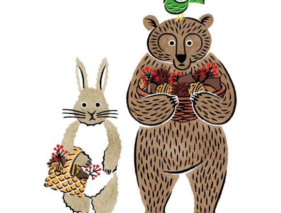 熊とウサギと鳥のカラーイラスト