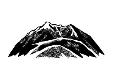 山のペン画イラスト