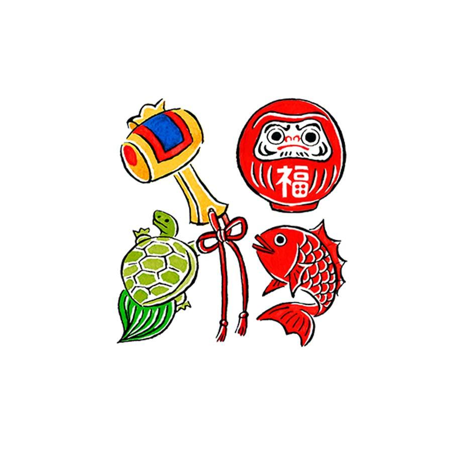 年賀状のダルマと打ち出の小槌、亀、鯛のイラスト