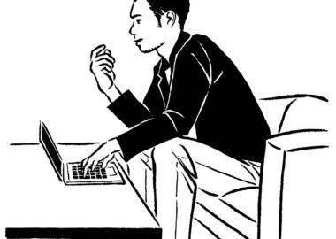 モノクロ線画の30代男性男性のイラスト