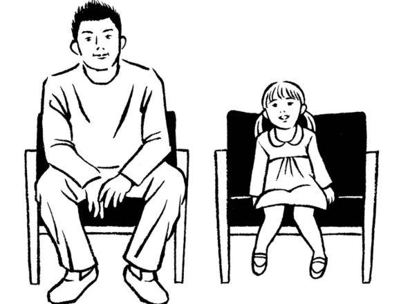 モノクロ線画の30代の父親と娘のイラスト