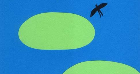 空のシンプルな切り絵イラスト