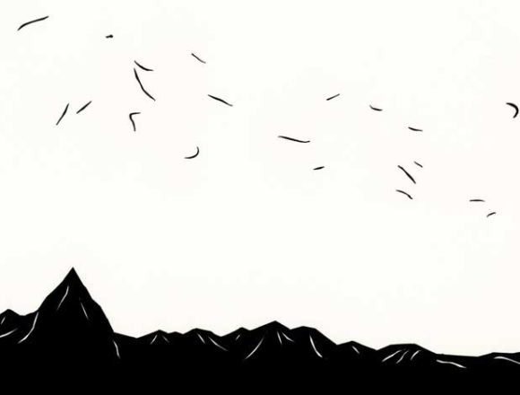風が吹いた山のシンプルな切り絵イラスト