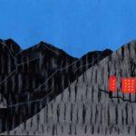 original works 切り絵コラージュ「山の中の赤いホテル」