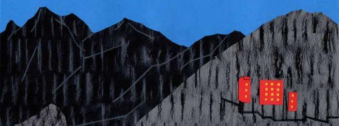 山の中の赤いホテルシンプルな切り絵イラスト