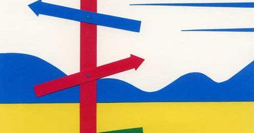 矢印のある黄色い風景シンプルな切り絵イラスト