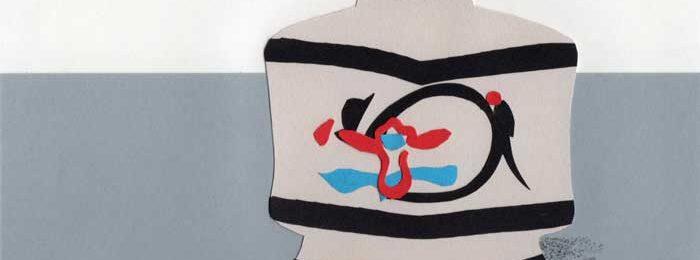 河井寛次郎の壺のシンプルな切り絵イラスト