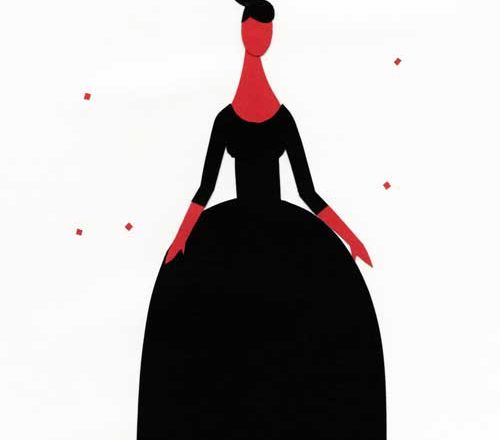 黒いドレスを着た女のシンプルな切り絵イラスト