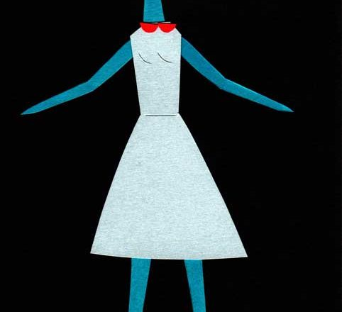 ワンピースの女の子のシンプルな切り絵イラスト
