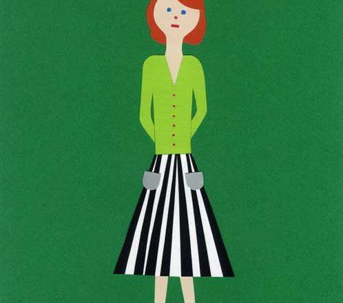 女の子のシンプルな切り絵イラスト