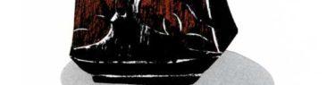 黒い壺のシンプルな切り絵イラスト