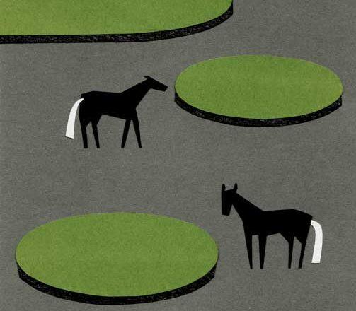 馬がいる公園のシンプルな切り絵イラスト