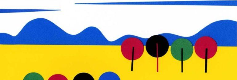黄色い風景のシンプルな切り絵イラスト