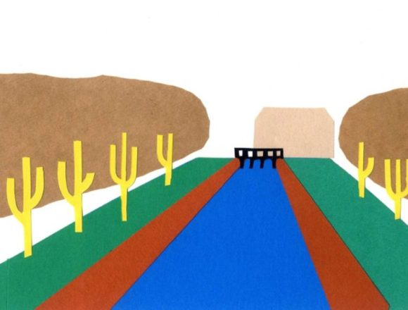 庭と川がある風景のシンプルな切り絵イラスト