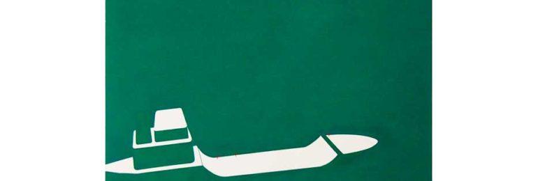 湖に浮かぶボートを描いた絵画作品