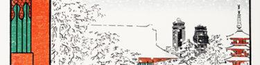 冬景色の雷門の浮世絵風ポスターイラスト