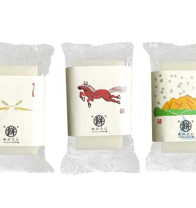 ゆのたにのお餅個包装を水彩で和風に描いています。
