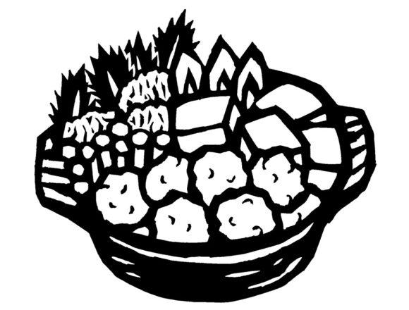 鍋の切り絵モノクロイラスト