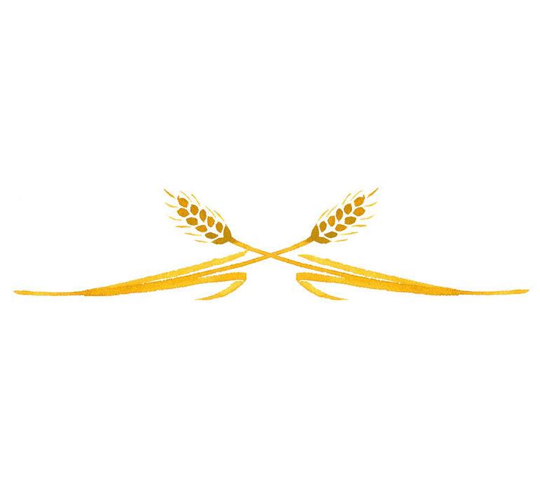 ゆのたにお餅パッケージの和風に水彩で描いた稲