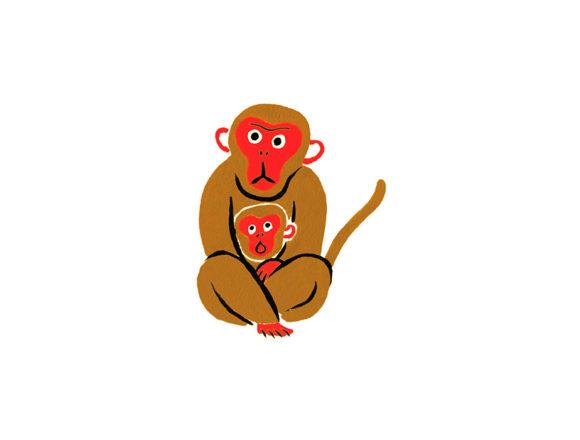 ゆのたにお餅パッケージの和風に水彩で描いた猿