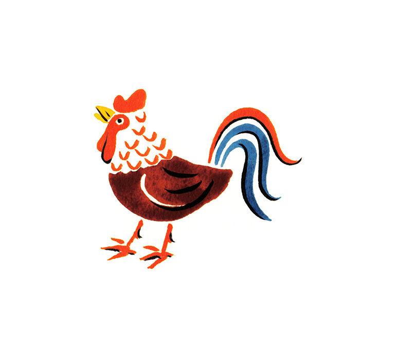 ゆのたにお餅個包装パッケージの和風水彩イラストの鶏