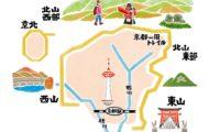 雑誌ランドネの水彩で描いた京都の地図イラスト