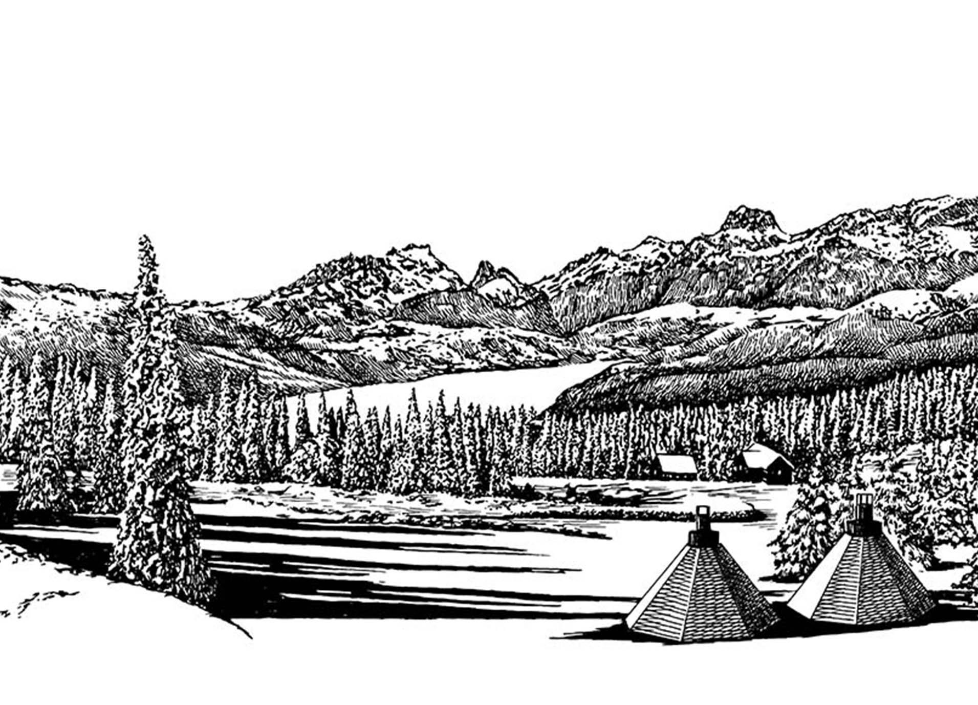 HESTRAドローイング雪山の風景イラスト