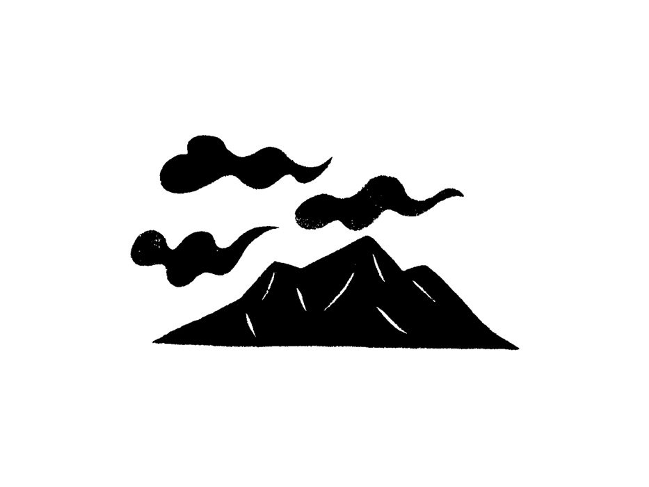山と雲の版画風モノトーンイラスト