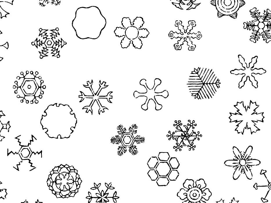 雪の結晶のドローイングイラスト