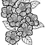 椿の花 モノトーンイラスト