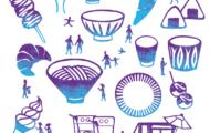 益子春の陶器市で開催されるつかもとテント市のメインビジュアルの切り絵で制作したイラスト