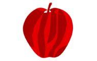 赤いりんごの切り絵イラスト