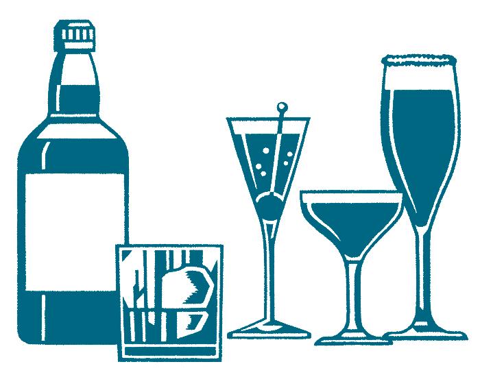 カクテルとボトルの単色イラスト