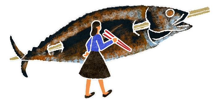 水彩風地図のイラストの鯖
