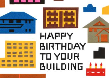 切り絵で建物のイラストを制作したバースデーカード
