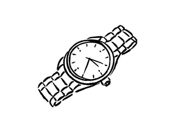 モノクロ線画の時計イラスト