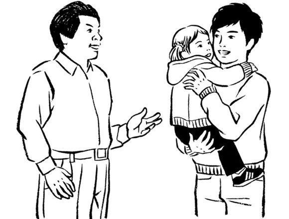 モノクロ線画の中年男性と娘を抱っこした若い父のイラスト